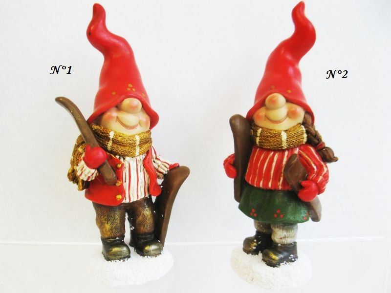 FIGURINE GNOME SKIS ET BONNET ROUGE